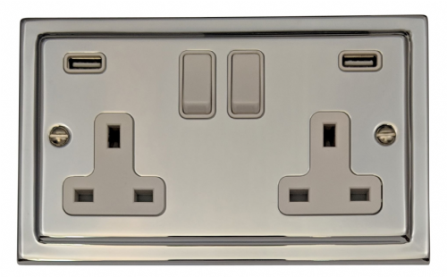 G&H TC910W Trimline Plate Polished Chrome 2 Gang Double 13A Switched Plug Socket 2.1A USB
